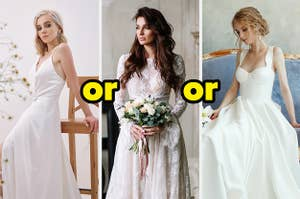 Three different wedding dresses with