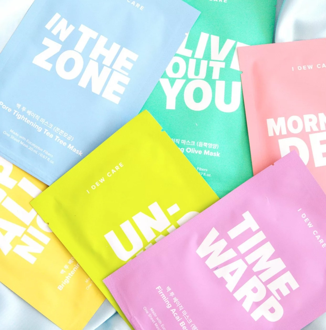 Set of face masks scattered across each other