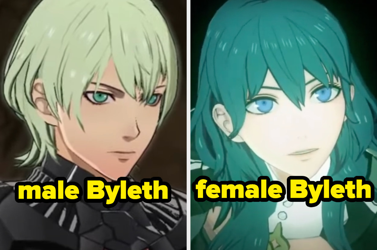 The male Byleth on the left has determined eyes while the female Byleth on the left looks more doll-like