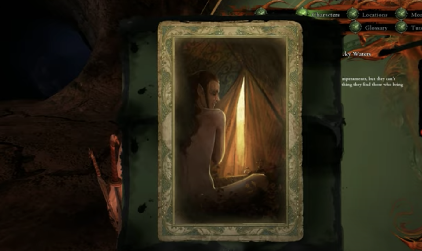 """A """"elf romance"""" card that characters can collect features the image of the back of a nude woman"""