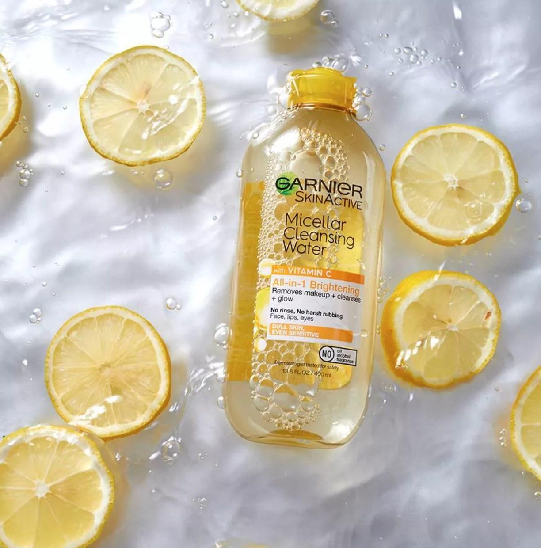 Garnier vitamin c micellar water near lemons and water