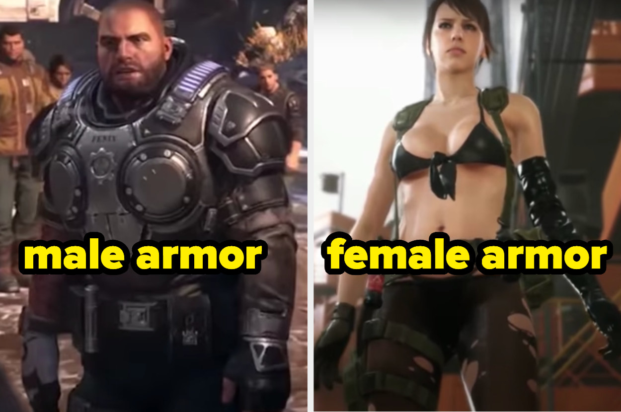 The male character on the left has heavy duty armor while the female on the right fights while in a skimpy bikini