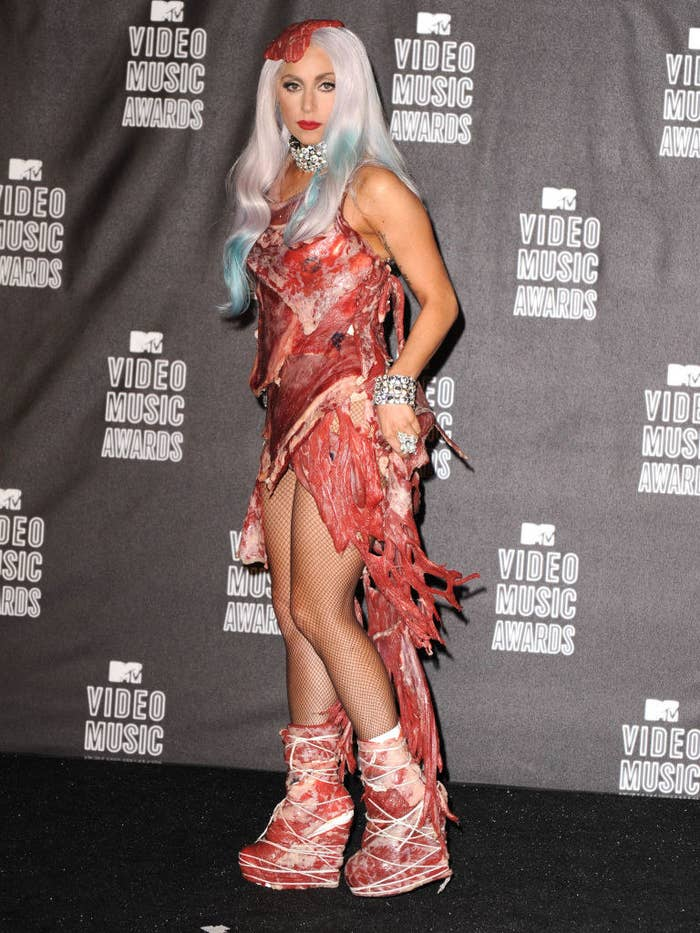 Lady Gaga wearing a dress made of meat while at the MTV Video Music Awards