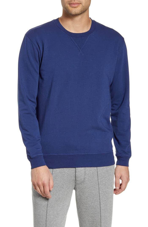 Model wearing crewneck sweatshirt in blue