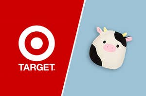 An cow squishmallow plushie beside the target logo