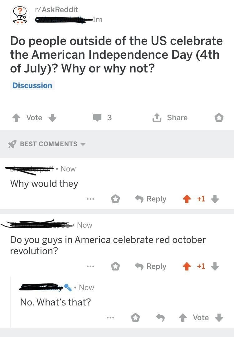 person who asks if britiish people celebrate the fourth of july