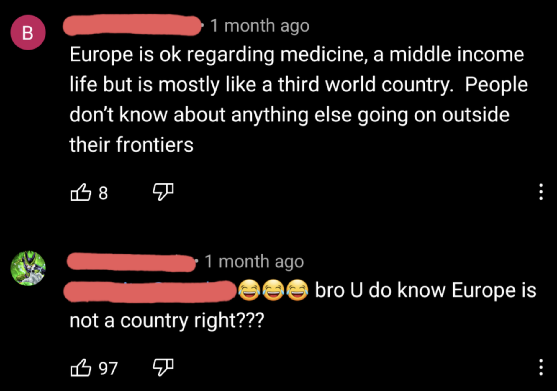 person who thinks europe is a country