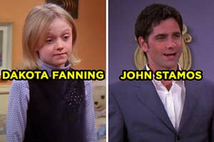 """On the left, Dakota Fanning as Mackenzie on """"Friends,"""" and on the right, John Stamos as Zack on """"Friends"""""""