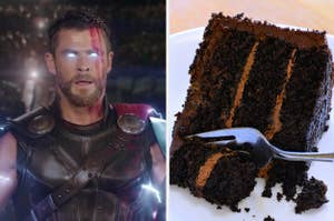 thor on the left and chocolate cake on the right