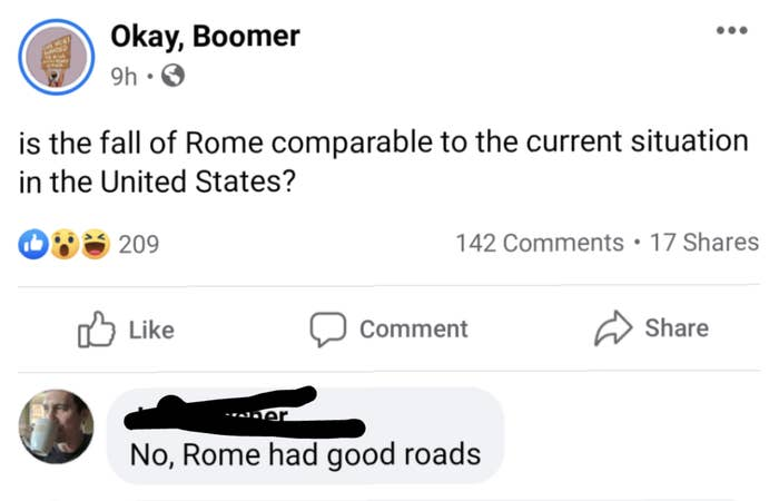 person who asks if the US current situation is comparable to rome and someone responds no rome has good roads
