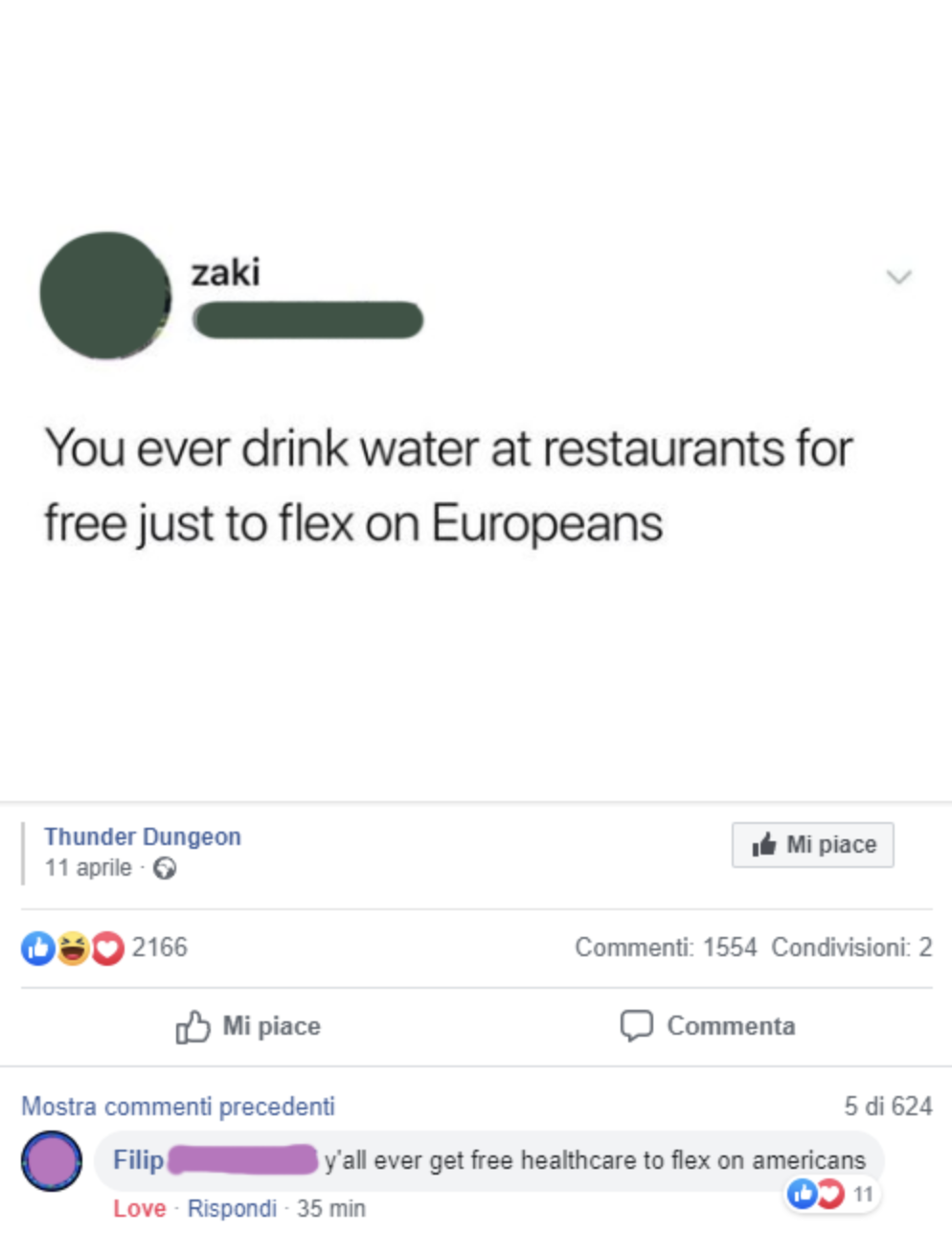 person who wants to stunt on europeans for getting free water: