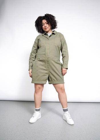 a different model wearing the romper in army green