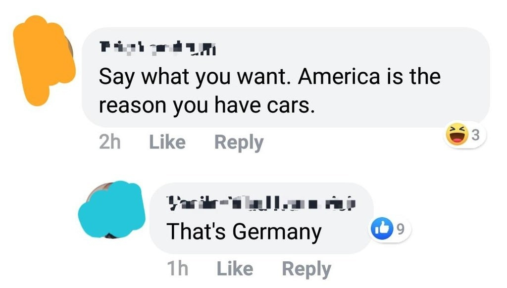person says american is the reason we have cars but it's actually germany