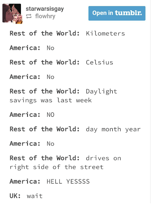 tumblr post outlining the difference in the uk and usa measurement systems