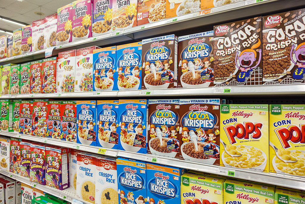 Cereal in a grocery store