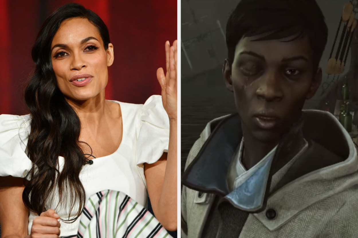 Rosario Dawson speaking on a panel, Billie Lurk standing on the boat deck with an eye missing