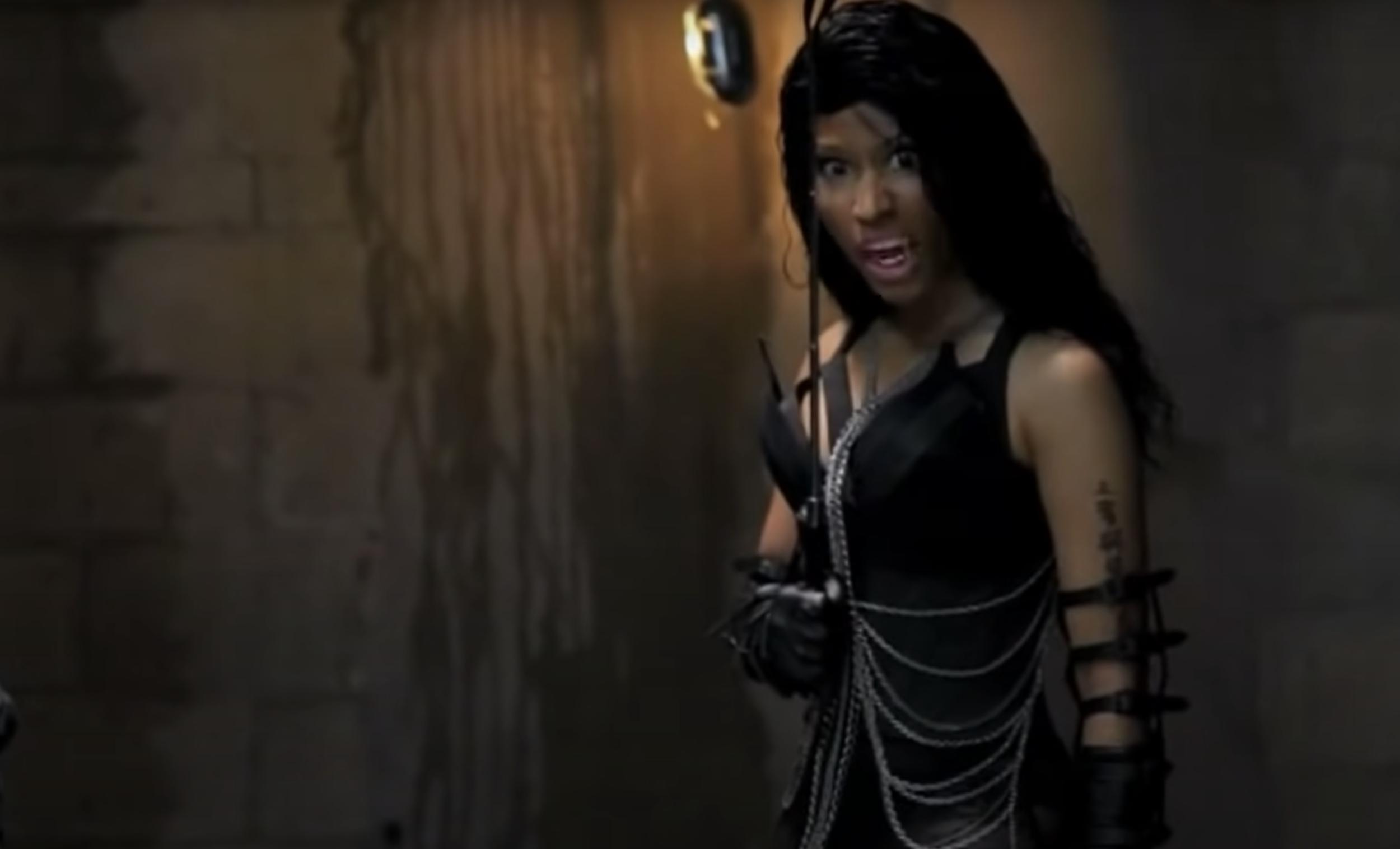 Nicki Minaj acting like a monster in the music video