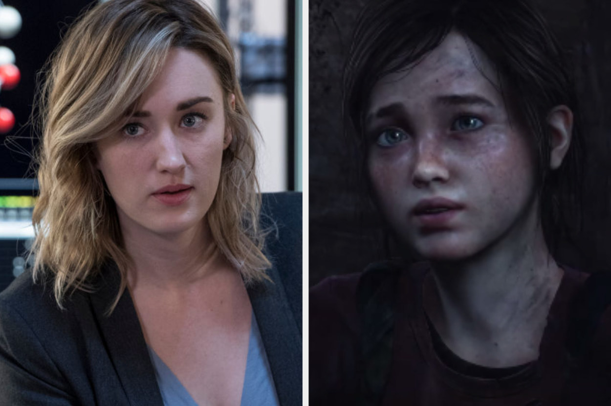 Ashley Johnson standing in a lab, Ellie looking up in The Last of Us