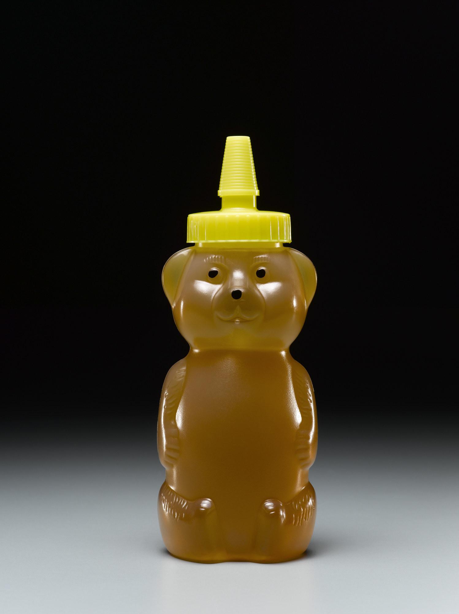 A honey bottle in the shape of a bear