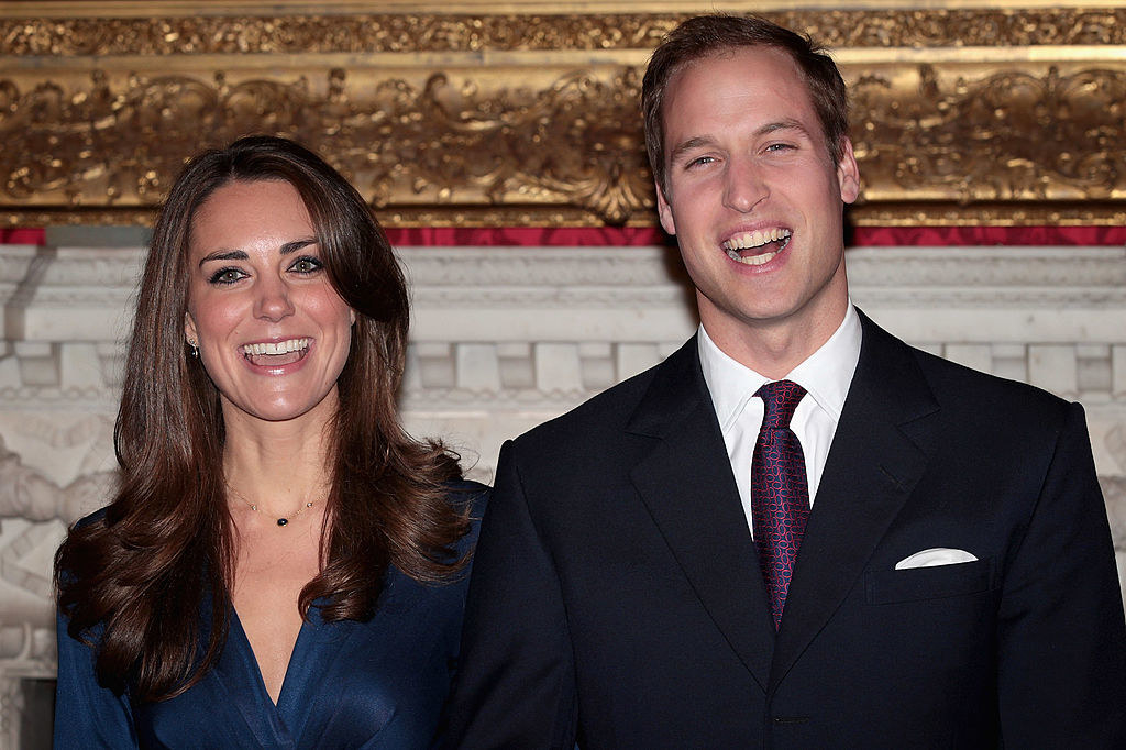 Kate Middleton and Prince William smiling at their engagement