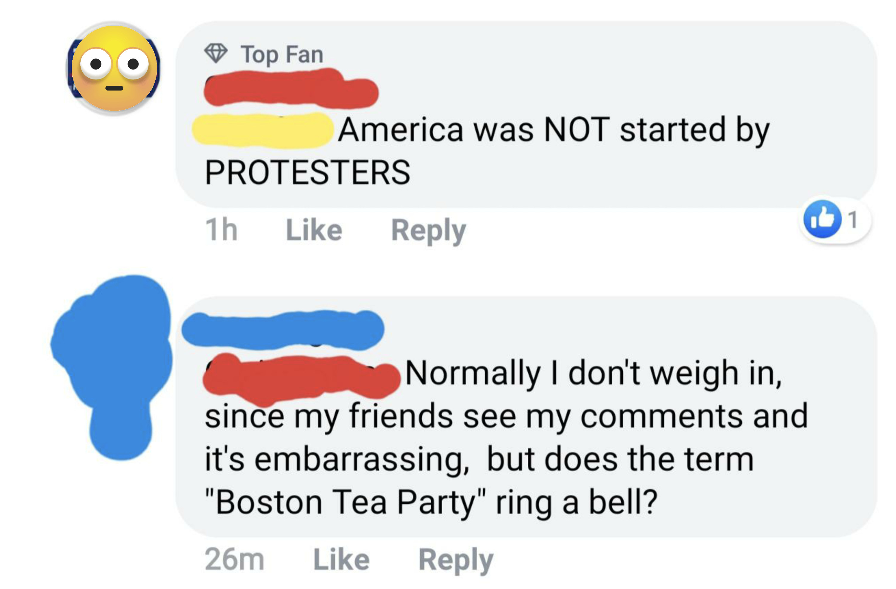 person who says America was not started by protesters and the other person says you are aware of the Boston Tea Party