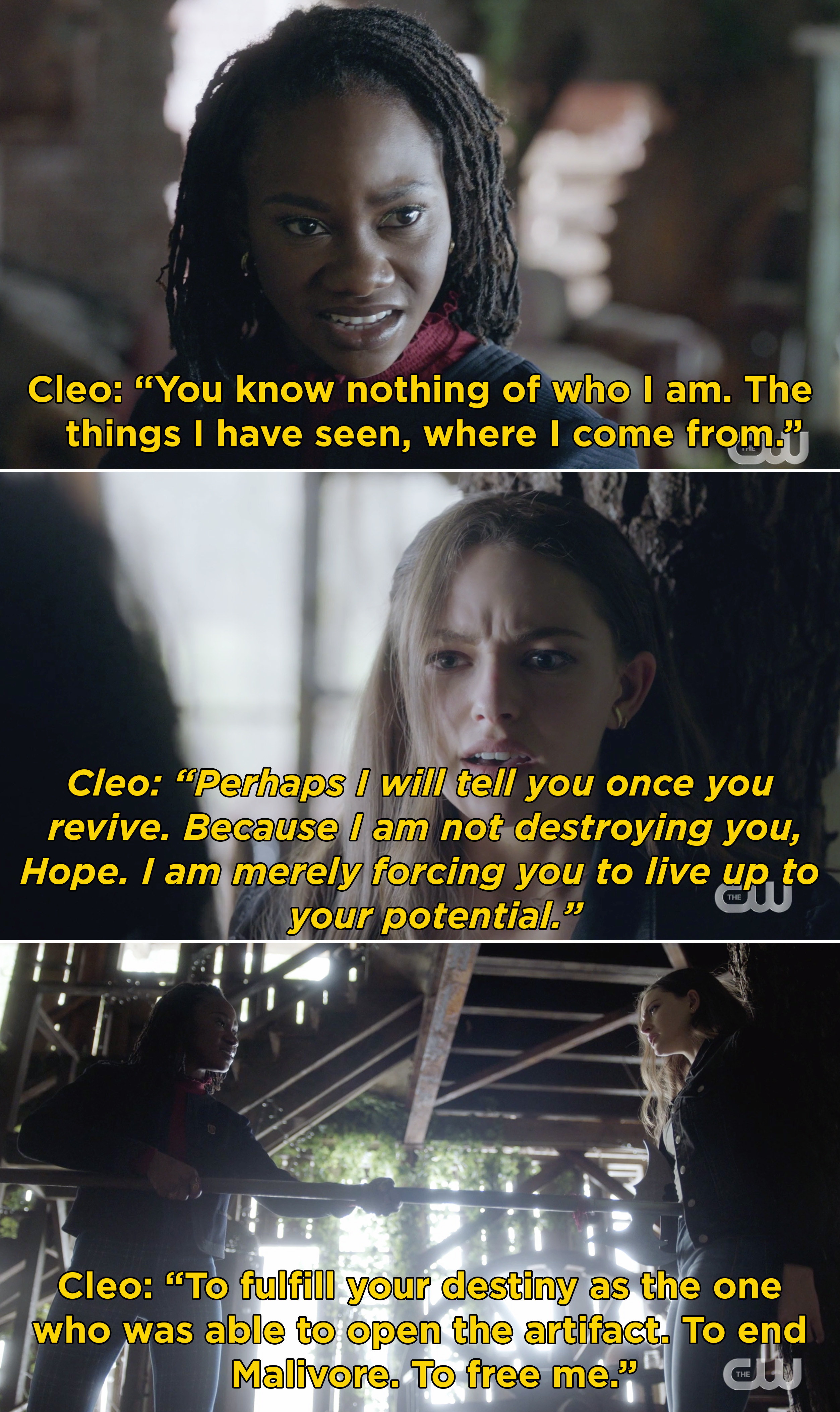 """Cleo telling Hope that she needs to """"fulfill your destiny"""" and end Malivore"""