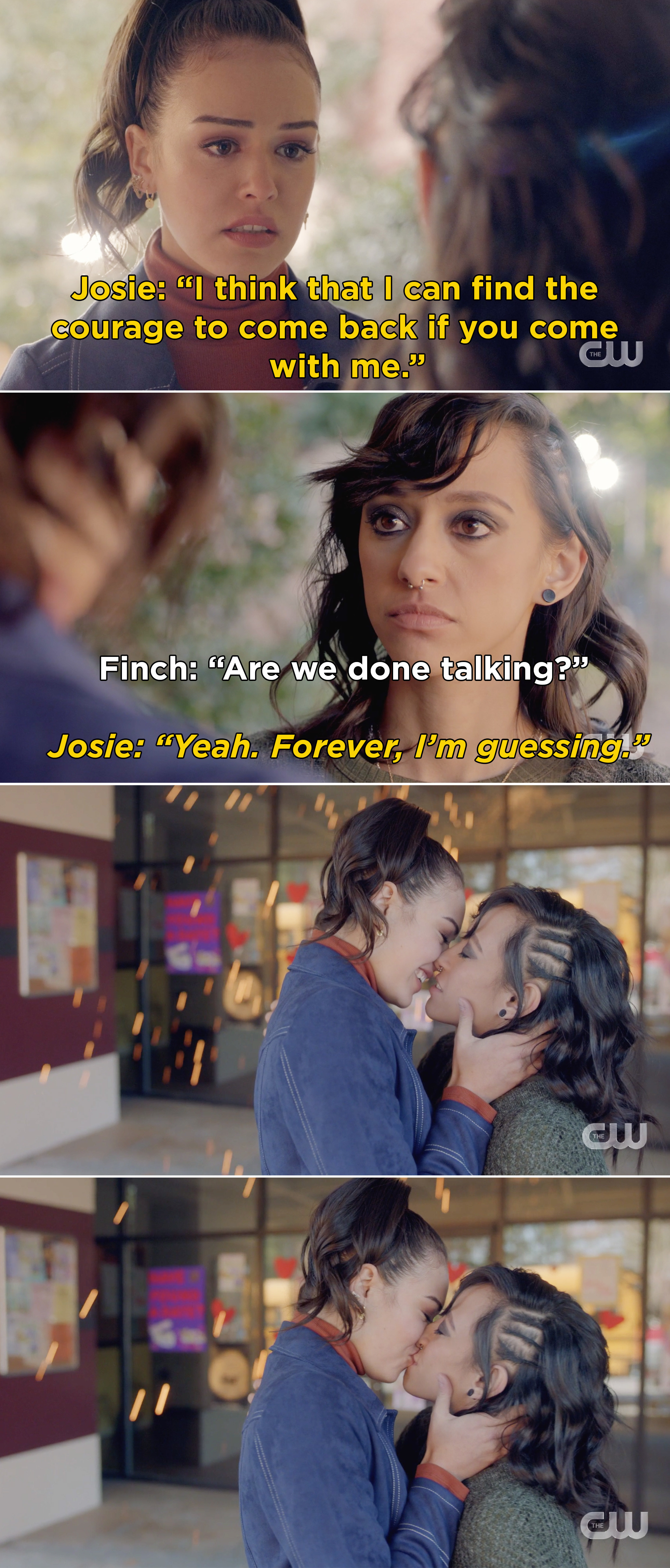 Josie and Finch kissing after Josie says that she can find the courage to go back to the Salvatore School, if Finch comes with her