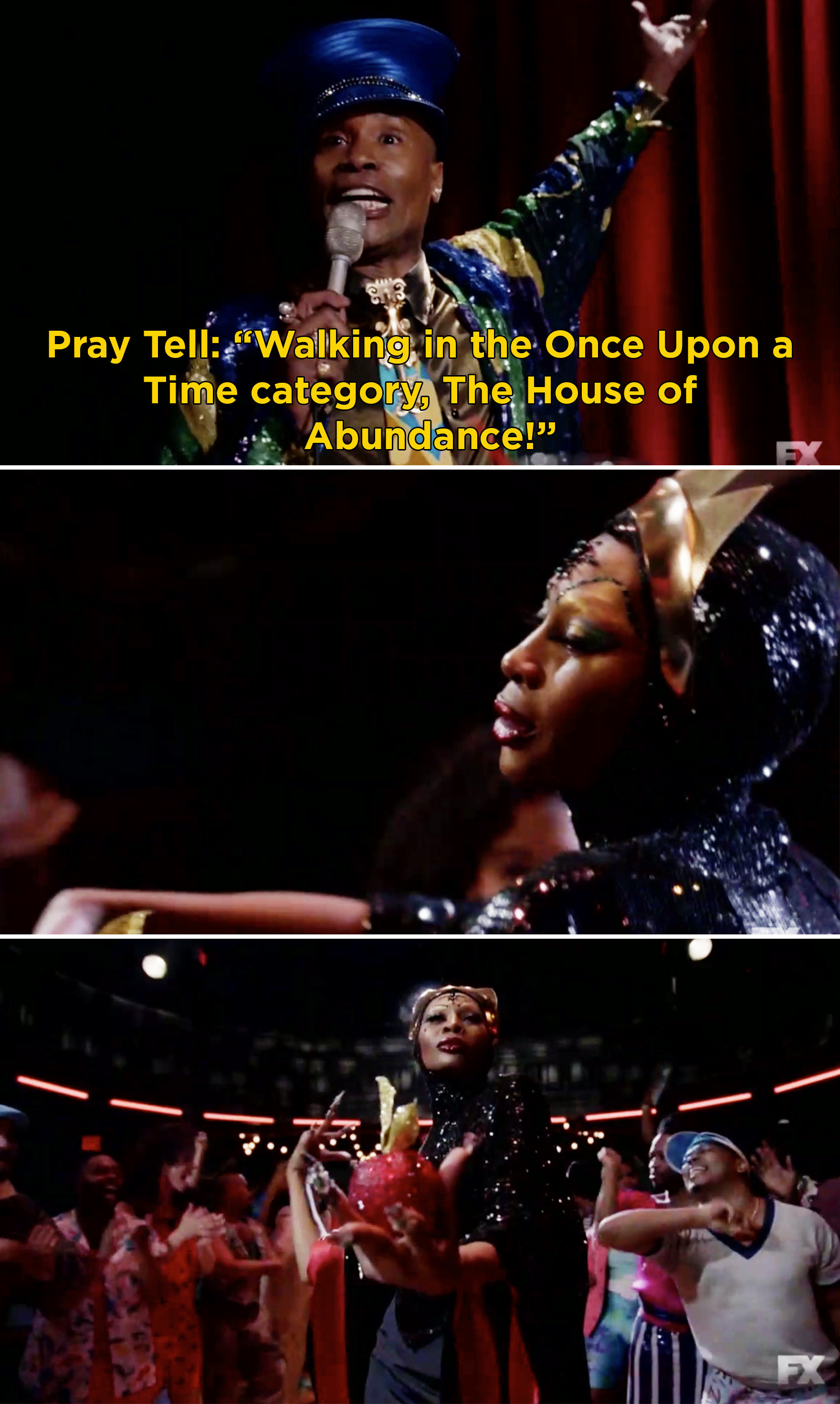 """Pray Tell saying, """"Walking in the Once Upon a Time category,  The House of Abundance"""""""