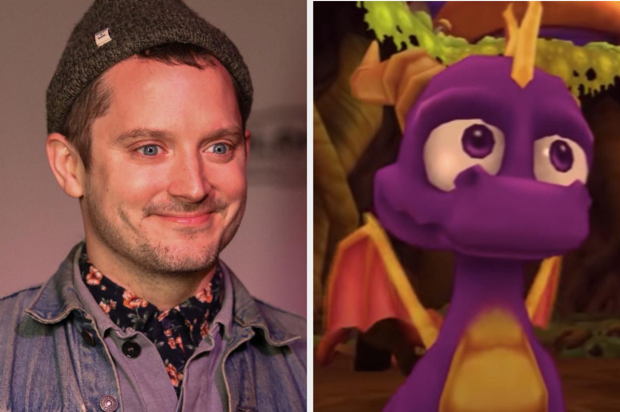 Elijah Wood posing for a photo, Spyro talking to Sparx in The Legend of Spyro