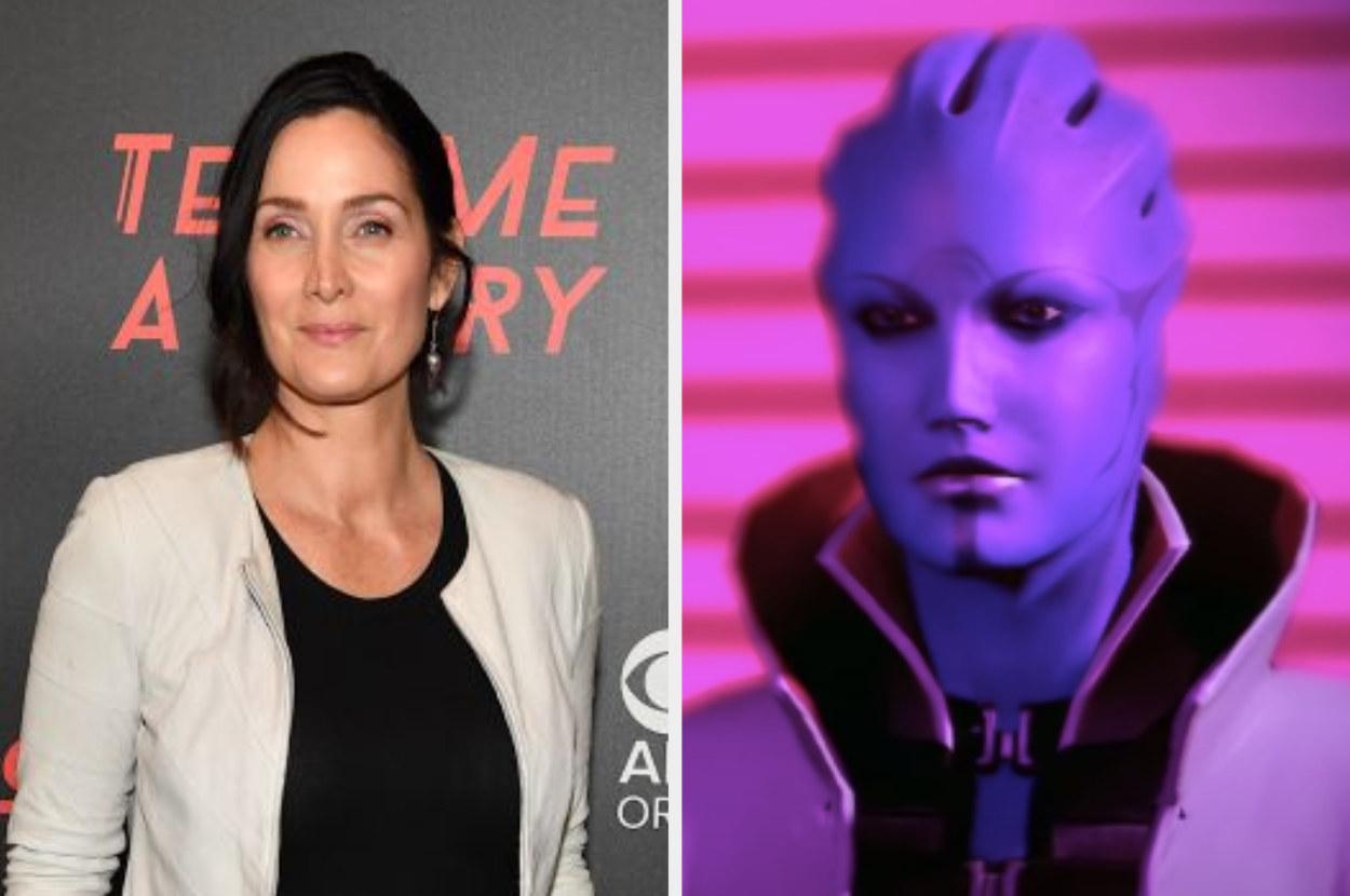 Carrie-Anne Moss posing for a photo, Aria T'Loak talking to others in Mass Effect