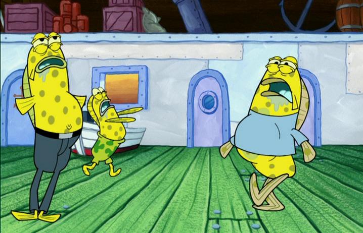 Customers running around with yellow spots