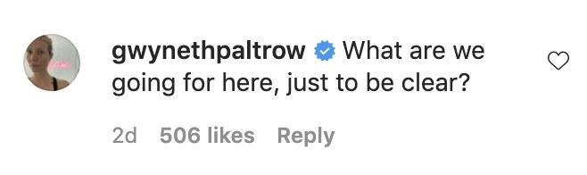 A screenshot of Gwyneth's comment asking What are we going for here, just to be clear?