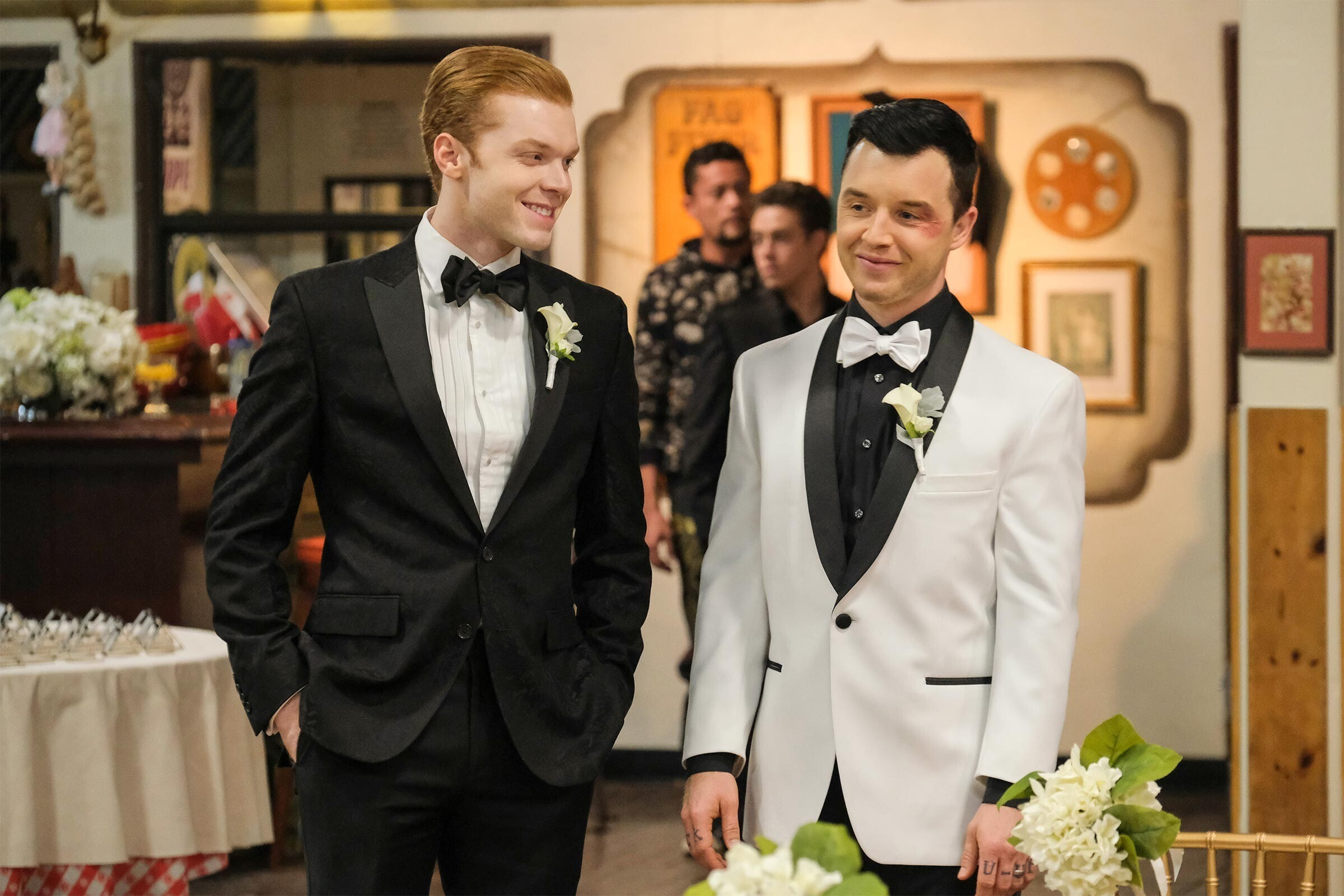 Cameron Monaghan and Noel Fisher at their wedding