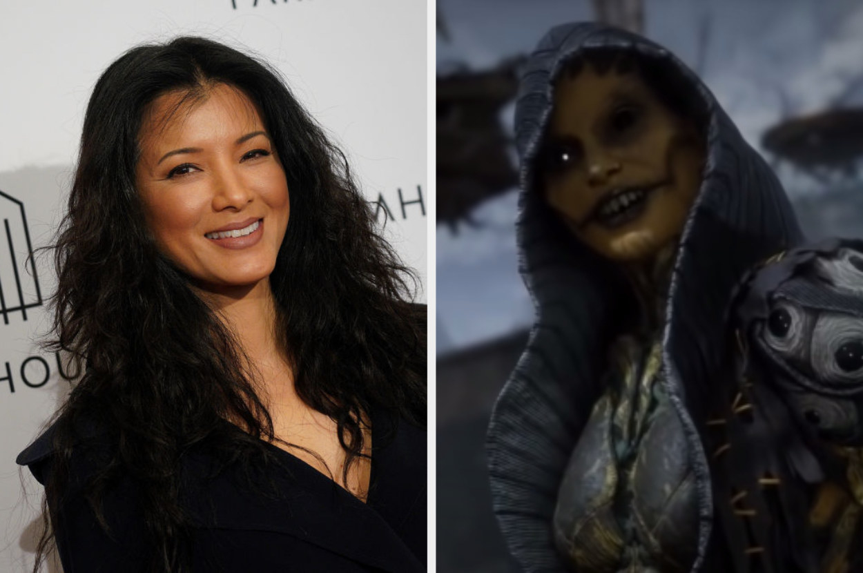 Kelly Hu posing for a photo, D'Vorah getting ready for a fight in Mortal Kombat 11