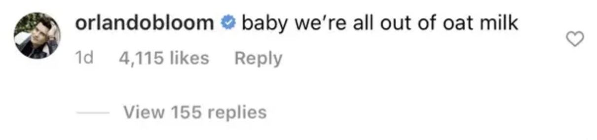 Orlando comments that they're out of oat milk
