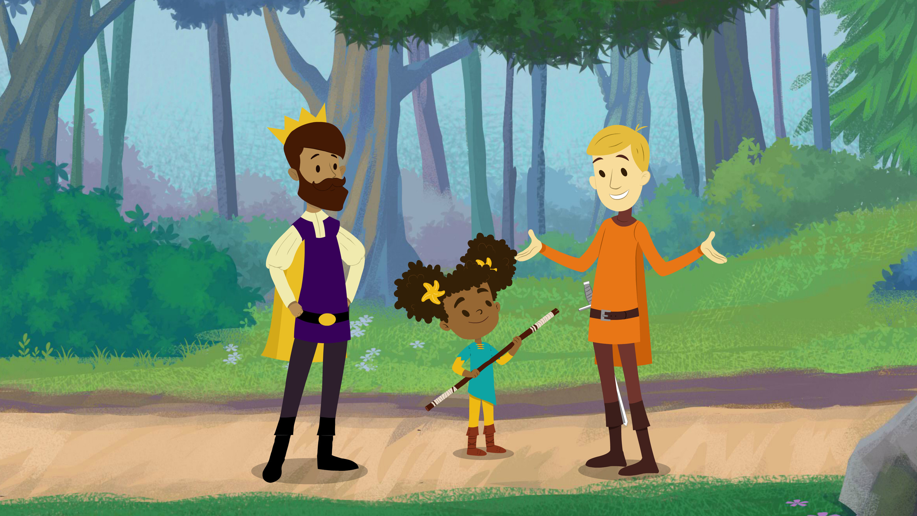 Animated Prince Andrew, Nia, and Sir Cedric speaking