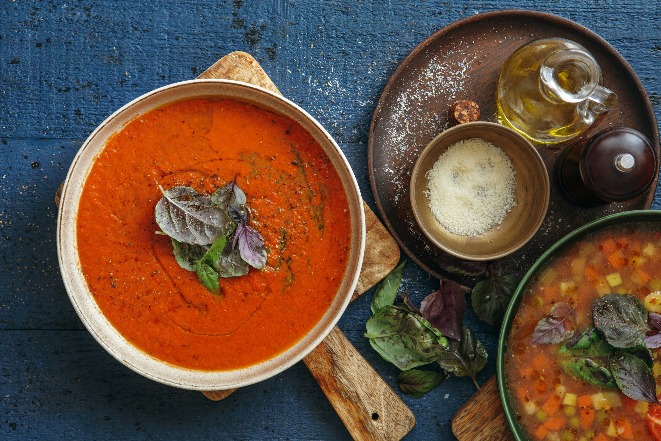 Italian soups with olive oil and cheese on the side