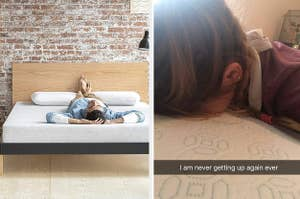 """photo on the left of model lying on mattress with their feet on the pillow. image on right is reviewer photo lying face-down on mattress with caption """"I am never getting up again ever"""""""