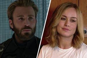 "Chris Evans as Steve Rogers in the movie ""Avengers: Infinity War"" and Brie Larson as Carol Danvers in the movie ""Captain Marvel."""