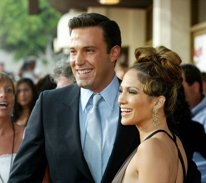 """Jennifer Lopez (R) and actor Ben Affleck attend the premiere of Revolution Studios' and Columbia Pictures' film """"Gigli"""""""