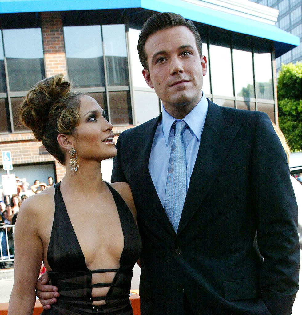 """Ben Affleck (R) and Jennifer Lopez attend the premiere of Revolution Studios' and Columbia Pictures' film """"Gigli"""""""
