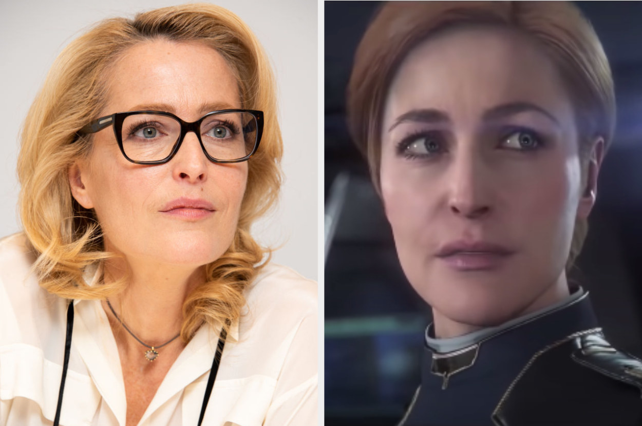 Gillian Anderson posing for a photo, Captain MacLaren talking to another team member in Squadron 42