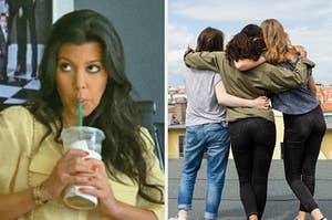 On the left, Kourtney Kardashian sipping on a Starbucks drink, and on the right, three friends hugging