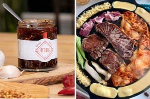 chili sauce / a Korean BBQ grill
