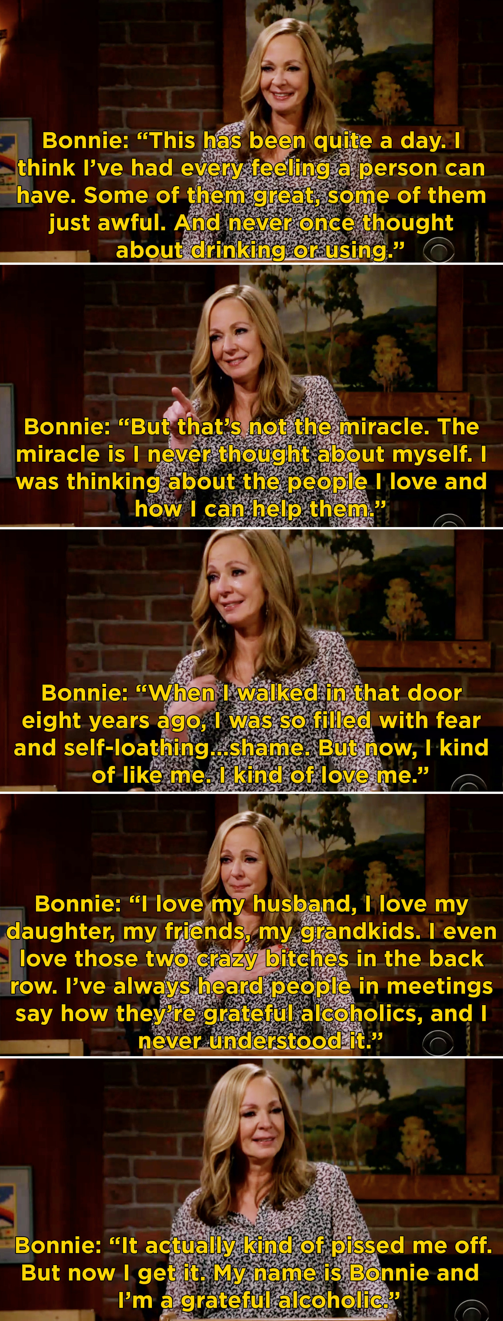 Bonnie saying that after eight years she finally loves herself and all of the people in her life