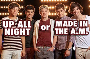 One Direction posing together when they first formed