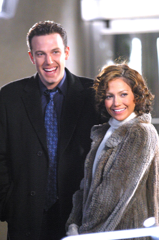 "Ben Affleck (L) and Jennifer Lopez on location for ""Jersey Girl"""