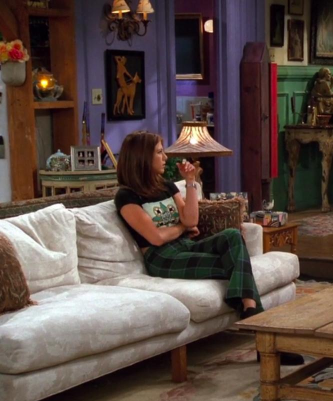 Rachel wearing pants and a T-shirt