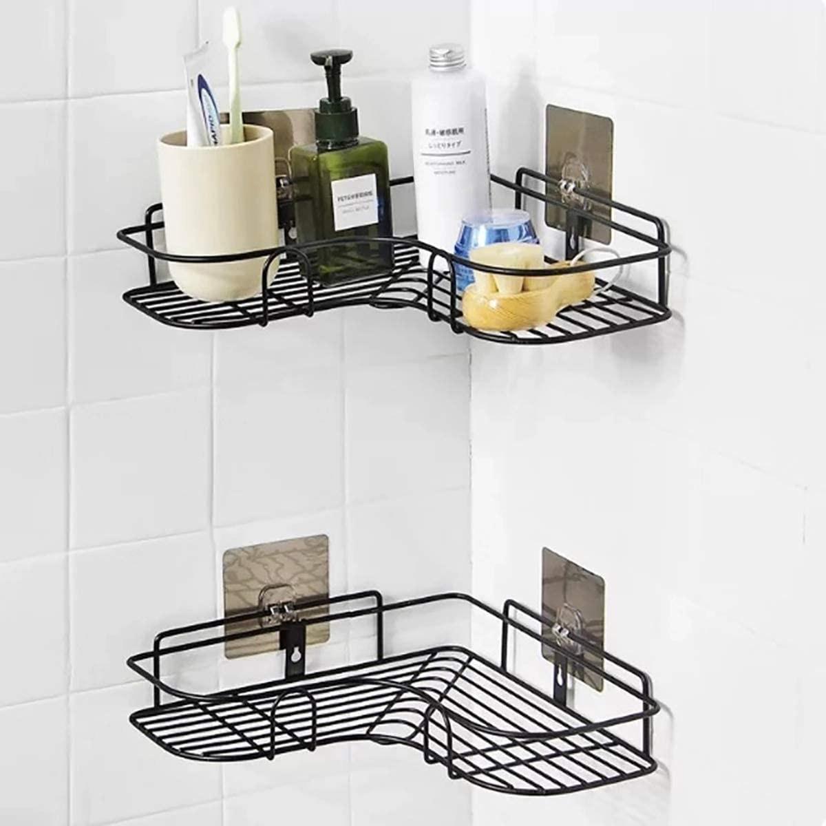 A corner shelf rack with items on it