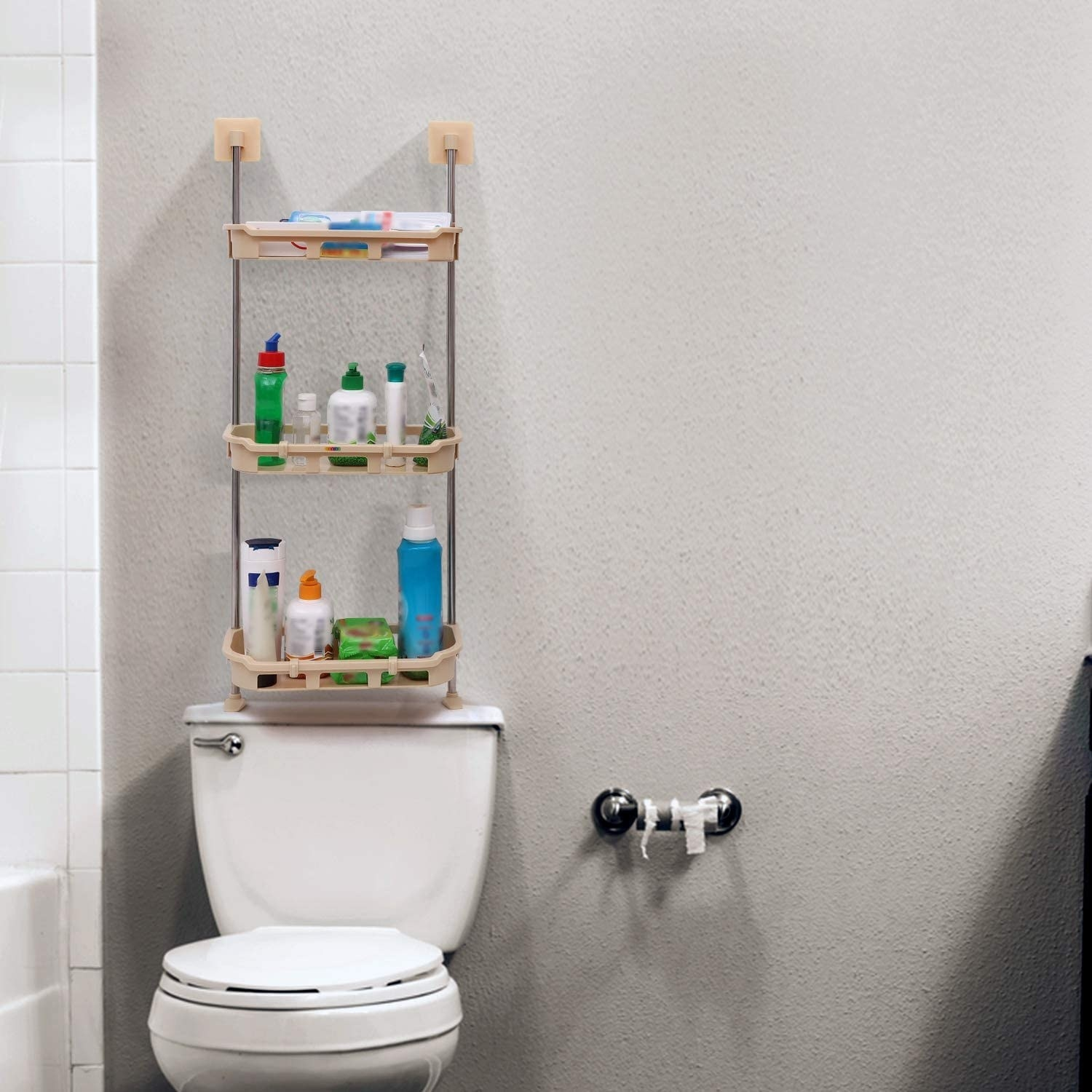 An over-the-toilet organiser with items in it